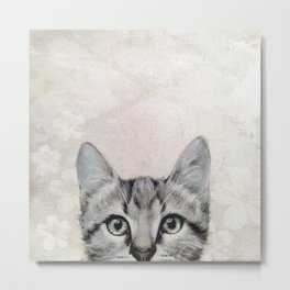 cat  illustration  original painting print Metal Print
