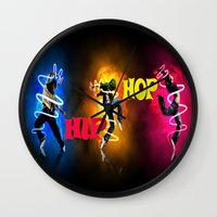 hip hop Wall Clocks featuring Hip Hop by ezmaya