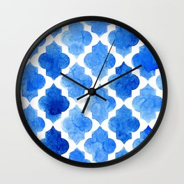Quatrefoil pattern in shades of blue Wall Clock