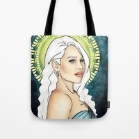mother of dragons Tote Bags featuring Mother of Dragons by CatAstrophe