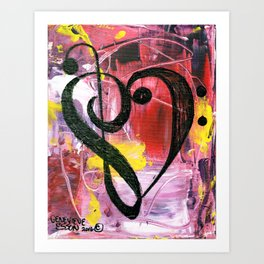 Treble Heart Clef In Pink Art Print