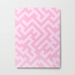 Pink Lace Pink and Cotton Candy Pink Diagonal Labyrinth Metal Print