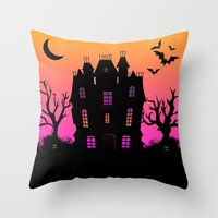 haunted mansion Throw Pillows featuring Haunted Silhouette Rainbow Mansion by rainbowdreams