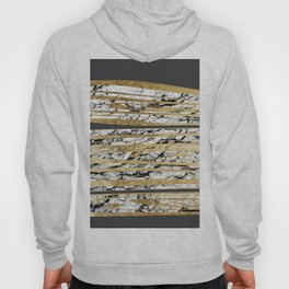 Modern Black White Marble with Faux Gold Stripes Hoody