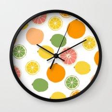 Orange Grapefruit Lemon Lime Citrus Pattern Wall Clock