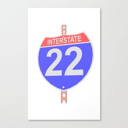 Interstate highway 22 road sign Canvas Print