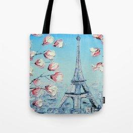 Paris Spring Cherry Blossoms, Eiffel Tower Art by Lisa Elley Tote Bag