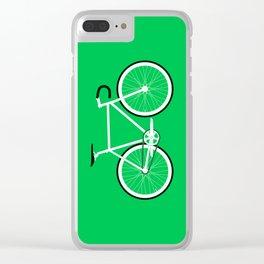 Green Fixed Gear Road Bike Clear iPhone Case