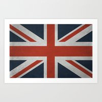 union jack Art Prints featuring Union Jack by Tom Schoffelen