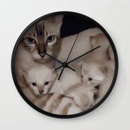 Luna the snow bengal cat with her kittens Wall Clock