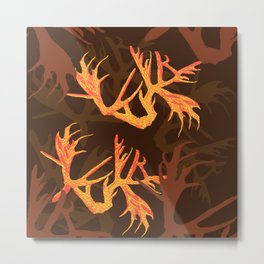 Horns Autumn Pattern Metal Print