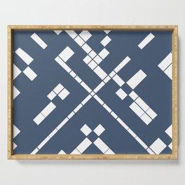 Geometric blue white Serving Tray