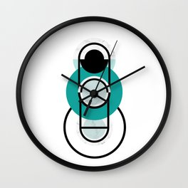 Turquoise Geometric Marble Abstract Design Wall Clock