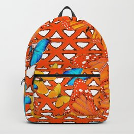 YELLOW BLUE ORANGE BUTTERFLY ABSTRACT WORLD Backpack