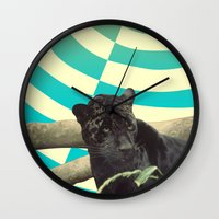 jaguar Wall Clocks featuring Jaguar by Celery Woulise