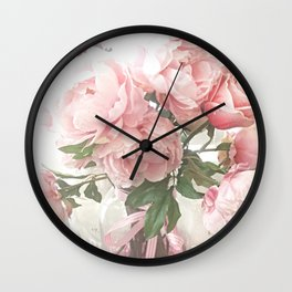 Shabby Chic Peach Pastel Peonies Floral Bouquet Print and Home Decor Wall Clock