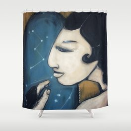 The Message // Woman Bird Stars Constellations Animal Night Girl Starry Cute Child Art Shower Curtain