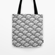 Waves All Over - Black and White Tote Bag