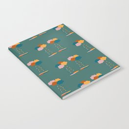 Colorful clouds and rain drops pattern Notebook