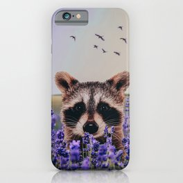 Racoon with lavender iPhone Case