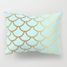Aqua Teal And Gold Foil MermaidScales - Mermaid Scales Pillow Sham