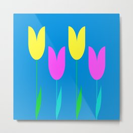 Tulips In Spring Time - Yellow & Bright Pink - Tulips in Springtime series Metal Print