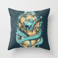 diver Throw Pillows featuring The Diver by Robin Clarijs