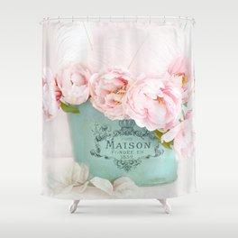 Shabby Chic Pink Paris Peonies  Shower Curtain