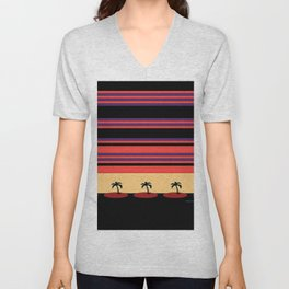 PALM TREES ON BLACK Unisex V-Neck