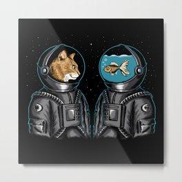 Cat and Fish Metal Print