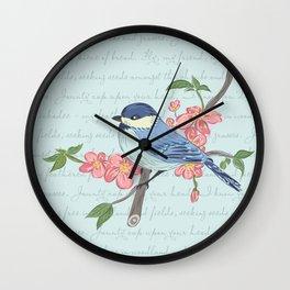 Blue Chickadee Wall Clock