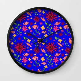 Bright and Bold Flowers Wall Clock