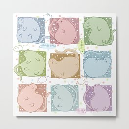 Blobby Cats Metal Print