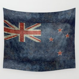 New Zealand Flag - Grungy retro style Wall Tapestry