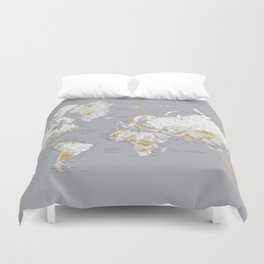 Detailed marble world map in gold and grey Duvet Cover