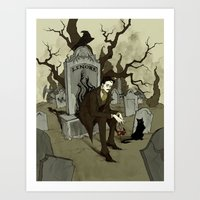 edgar allan poe Art Prints featuring Edgar Allan Poe by Abigail Larson