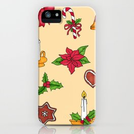 Christmas pattern (#2 yellow) iPhone Case