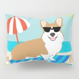 Corgi Summer Beach Day Sandcastles Dog Art Pillow Sham