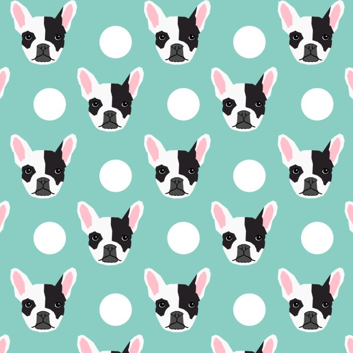 French Bulldog pattern polka dogs dog head funny dog meme cute gift for a dog lover frenchie owner Leggings