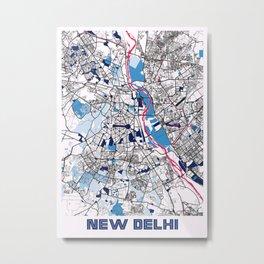New Delhi - India MilkTea City Map Metal Print