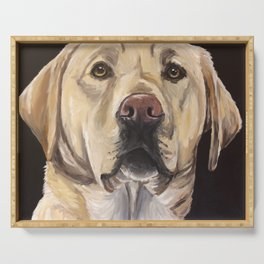 Yellow Lab Art, Cute Dog Painting Serving Tray