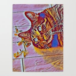 Blue Wave Cat Tiger v Mimi Poster