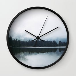 Minimalist Cold Landscape Pine Trees Water Reflection Symmetry Wall Clock