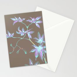 Japanese Leaves :Periwinkle Lavender Mint Stationery Cards