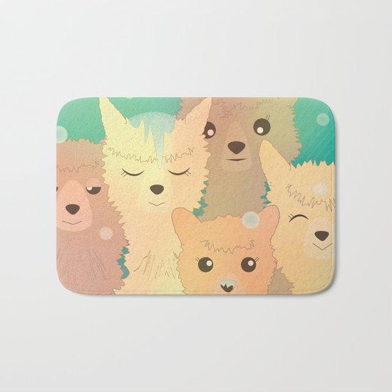 Alpaca Family I - Mint Green Snow Background Bath Mat