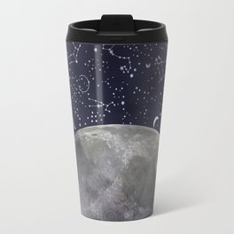 Mystic Galaxy Constellation Moon Stars and Cosmic Space White Travel Mug