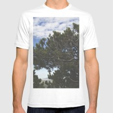 Pine Bush on a Volcano Mens Fitted Tee White MEDIUM