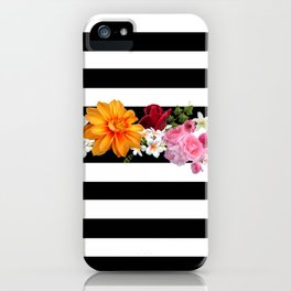 flowers on black and white stripes iPhone Case