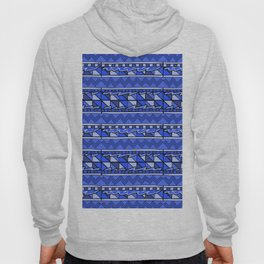 Latin American Pattern Blue. Zigzag Squares Triangle Patterns. Mexican Art. Funky Hoody