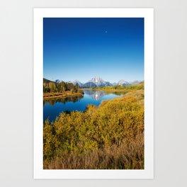 Near the Snake river looking toward Mount Moran in the Grand Tetons. Art Print